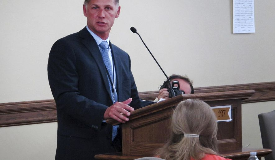 Blue Cross and Blue Shield of Montana president Mike Frank explains his company's proposal to raise insurance rates 23 percent for individuals covered under the Affordable Care Act on Wednesday, July 26, 2017, in Helena, Mont. (AP Photo/Matt Volz)