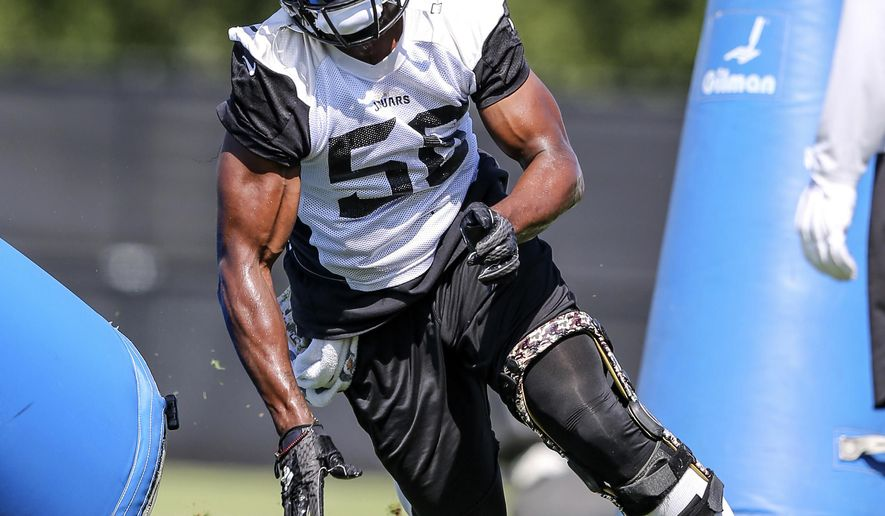 """FILE - In this June 15, 2016, file photo, Jacksonville Jaguar defensive end Dante Fowler runs a drill during NFL football minicamp in Jacksonville, Fla. Fowler called his latest arrest """"just a bump in the road,"""" insisting he's mature and vowing to prove he's a role model. Speaking publicly for the first time since being arrested in his hometown of St. Petersburg last week, Fowler apologized Wednesday, July 26, 2017,  to the organization and the city for his actions that led to misdemeanor charges of simple battery and mischief.  (AP Photo/Gary McCullough, File)"""