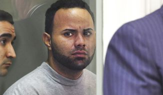 FILE - In this April 18, 2017, file photo, Angelo Colon-Ortiz is arraigned in Leominster, Mass., District Court in connection to the Aug. 7, 2016 slaying of Vanessa Marcotte in Princeton, Mass. Colon-Ortiz is scheduled to be arraigned on a murder charge Wednesday, July 26, 2017, in Worcester Superior Court. (Christine Peterson/Worcester Telegram & Gazette via AP, Pool, File)