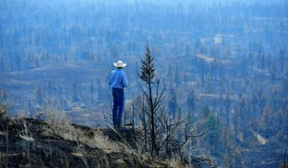 Tim Weyer tours his ranch, which was consumed by wildfires, Tuesday, July 25, 2017 in Sand Springs, Mont.  Firefighters say they have stopped most of the growth and gained 20 percent containment on the fires that were started last week by lightning.  (Rion Sanders/The Great Falls Tribune via AP)