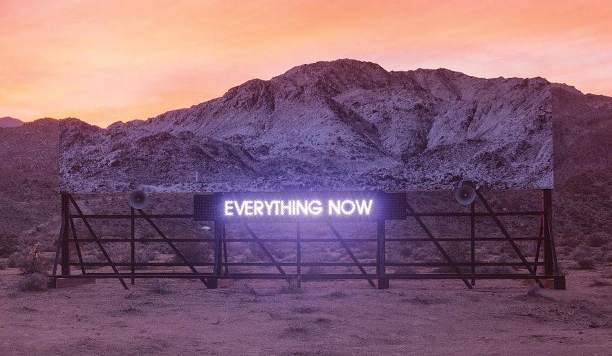 "This cover image released by Columbia Records shows ""Everything Now,"" a release by Arcade Fire. (Columbia Records via AP)"