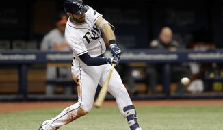 Tampa Bay Rays' Evan Longoria connects for a two-run home run off Baltimore Orioles starting pitcher Ubaldo Jimenez in the sixth inning of a baseball game Wednesday, July 26, 2017, in St. Petersburg, Fla. (AP Photo/Chris O'Meara)
