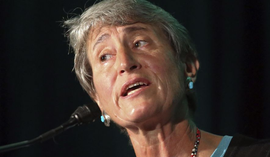 Former Interior Secretary Sally Jewell speaks during the Outdoor Retailer show Wednesday, July 26, 2017, in Salt Lake City. Jewell is calling President Donald Trump's review of two dozen national monuments highly problematic and out of step with what Americans want. Jewell said at the nation's largest outdoor recreation trade show that Trump is treating national parks like contestants on a game show when he should be respecting measured decisions made by past presidents. (AP Photo/Rick Bowmer)