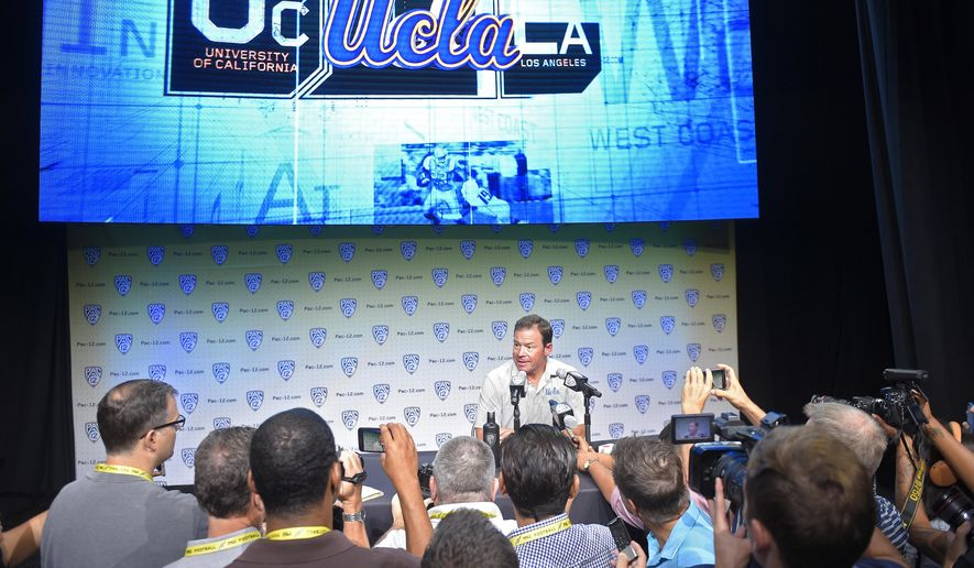 UCLA head coach Jim Mora speaks at the Pac-12 NCAA college football media day, Wednesday, July 26, 2017, in the Hollywood section of Los Angeles. (AP Photo/Mark J. Terrill)