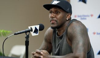 Carolina Panthers Thomas Davis answers a question during a news conference at NFL football training camp at Wofford College in Spartanburg, S.C., Wednesday, July 26, 2017. (AP Photo/Chuck Burton)