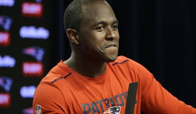 New England Patriots wide receiver Matthew Slater takes questions from members of the media at NFL football training camp, Wednesday, July 26, 2017, in Foxborough, Mass. (AP Photo/Steven Senne)
