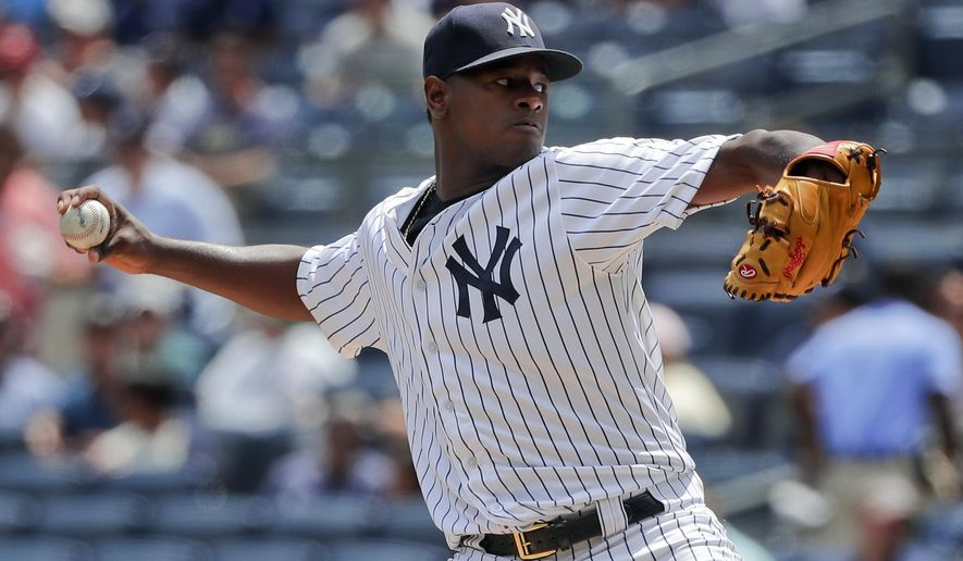 New York Yankees pitcher Luis Severino delivers against the Cincinnati Reds during the first inning of a baseball game, Wednesday, July 26, 2017, in New York. (AP Photo/Julie Jacobson)