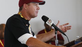 Washington Redskins head coach Jay Gruden gestures during a news conference at the start of NFL football training camp in Richmond,. Va., Wednesday, July 26, 2017. (AP Photo/Steve Helber)
