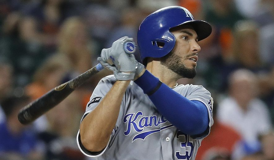 Kansas City Royals' Eric Hosmer watches his grand slam against the Detroit Tigers during the seventh inning of a baseball game in Detroit, Wednesday, July 26, 2017. (AP Photo/Paul Sancya)