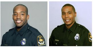These undated photos provided by the Omaha Police Department show former Omaha Police officers Ryan McClarty, right, and Scotty Payne. The two Omaha police officers will be charged with assault in the death last month of Zachary Bearheels, a mentally ill man who was shocked with a stun gun a dozen times, Douglas County Attorney Don Kleine said Wednesday, July 26, 2017. The Omaha Police Department fired Payne and McClarty earlier this month on the recommendation of Police Chief Todd Schmaderer. (Omaha Police Department via AP)