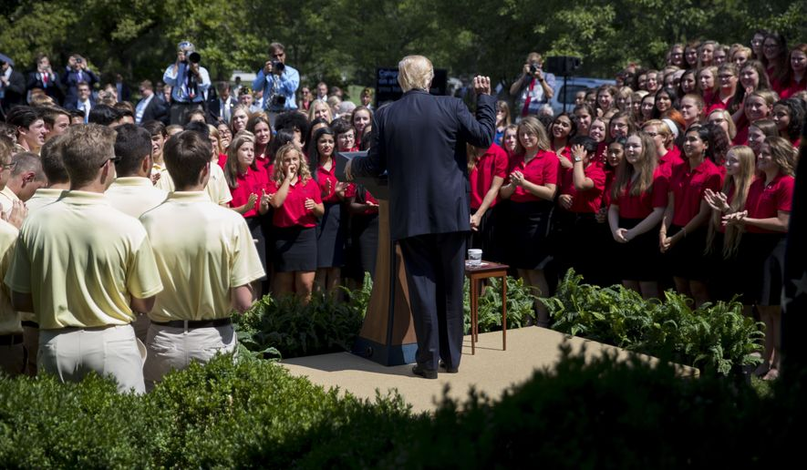 President Donald Trump speaks in the Rose Garden of the White House in Washington, Wednesday, July 26, 2017, during an American Legion Boys Nation and the American Legion Auxiliary Girls Nation event. (AP Photo/Carolyn Kaster)