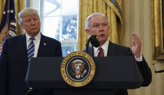 Attorney General Jeff Sessions said free speech rights are being eroded on college campuses across the nation. (Associated Press/File)