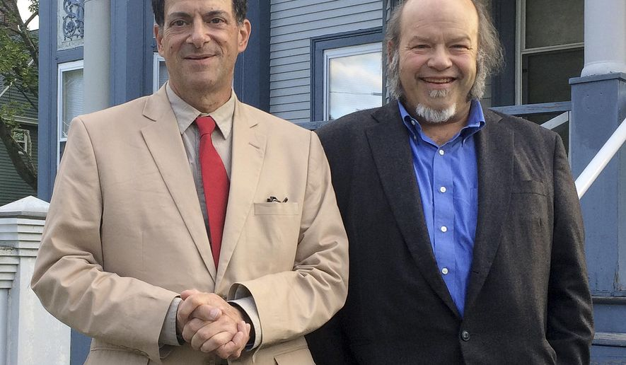In this Tuesday, July 26, 2017 photo, Dr. Stewart Levenson, left, chief of medicine at the Manchester VA Medical Center, and Dr. Ed Kois, head of the hospital's spinal cord clinic, stand outside their attorney's office in Manchester, N.H. The doctors are among 11 hospital staffers whose complaints about substandard conditions and care at New Hampshire's only VA hospital have led to an investigation. Secretary of Veterans Affairs David Shulkin plans to meet with them next week. (AP Photo/Holly Ramer)
