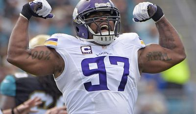 FILE - In this Dec. 11, 2016, file photo, Minnesota Vikings defensive end Everson Griffen celebrates after sacking Jacksonville Jaguars quarterback Blake Bortles during the first half of an NFL football game in Jacksonville, Fla. The Vikings have signed the two-time Pro Bowler to a contract extension, the team announced Wednesday, July 26, 2017.(AP Photo/Phelan M. Ebenhack, File)