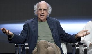 """Actor/creator/executive producer Larry David speaks in the """"Curb Your Enthusiasm"""" panel during the HBO Television Critics Association Summer Press Tour at the Beverly Hilton on Wednesday, July 26, 2017, in Beverly Hills, Calif. (Photo by Chris Pizzello/Invision/AP)"""
