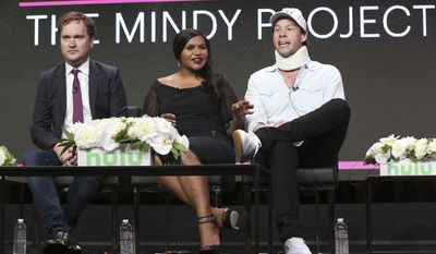 "Executive producer/showrunner Matt Warburton, left, creator/executive producer/star Mindy Kaling, center, and Ike Barinholtz participate in the ""The Mindy Project"" panel during the Hulu Television Critics Association Summer Press Tour at the Beverly Hilton on Thursday, July 27, 2017, in Beverly Hills, Calif. (Photo by Willy Sanjuan/Invision/AP)"