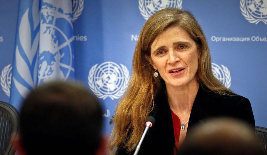 United States U.N. Ambassador Samantha Power speaks during her final press conference, Friday, Jan. 13, 2017 at U.N. headquarters. (AP Photo/Bebeto Matthews) (Associated Press)