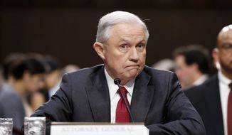 Attorney General Jeff Sessions pauses while speaking on Capitol Hill in Washington, Tuesday, June 13, 2017, as he testifies before the Senate Intelligence Committee hearing about his role in the firing of James Comey, his Russian contacts during the campaign and his decision to recuse from an investigation into possible ties between Moscow and associates of President Donald Trump. (AP Photo/Alex Brandon) ** FILE **