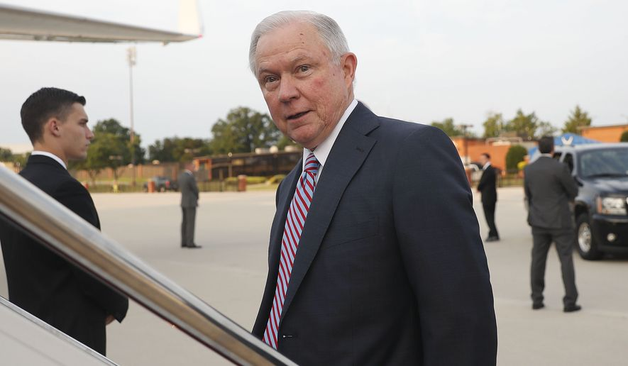 Attorney General Jeff Sessions boards his plane at Andrews Air Force Base, Md., Thursday, July 27, 2017. With his future as the nation's top prosecutor in doubt after a week of blistering public scorn from the president, Sessions is traveling to El Salvador to seek ways to stamp out the brutal street gang MS-13. (AP Photo/Pablo Martinez Monsivais)