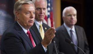 "From left, Sen. Lindsey Graham, R-S.C., Sen. Ron Johnson, R-Wis., and Sen. John McCain, R-Ariz., speak to reporters at the Capitol as the Republican-controlled Senate unable to fulfill their political promise to repeal and replace ""Obamacare"" because of opposition and wavering within the GOP ranks, on Capitol Hill in Washington, Thursday, July 27, 2017. (AP Photo/Cliff Owen)"