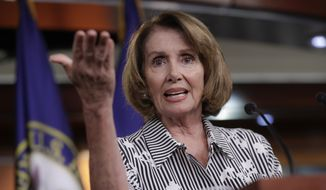 "House Minority Leader Nancy Pelosi of Calif. gestures during a news conference on Capitol Hill in Washington, Thursday, July 27, 2017, as the Republican majority in Congress remains stymied by their inability to fulfill their political promise to repeal and replace ""Obamacare.""  (AP Photo/J. Scott Applewhite)"