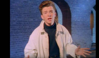 """Screen capture from the music video for Rick Astley's hit 1987 single """"Never Gonna Give You Up"""" (VEVO/YouTube)"""