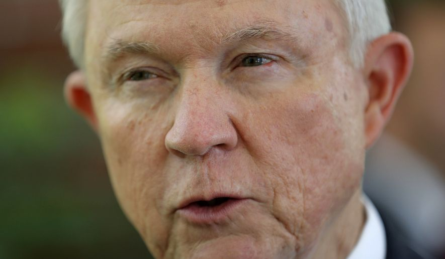 U.S. Attorney General Jeff Sessions is interviewed by The Associated Press at the U.S. Embassy in San Salvador, El Salvador, on July 27, 2017. (Associated Press) **FILE**