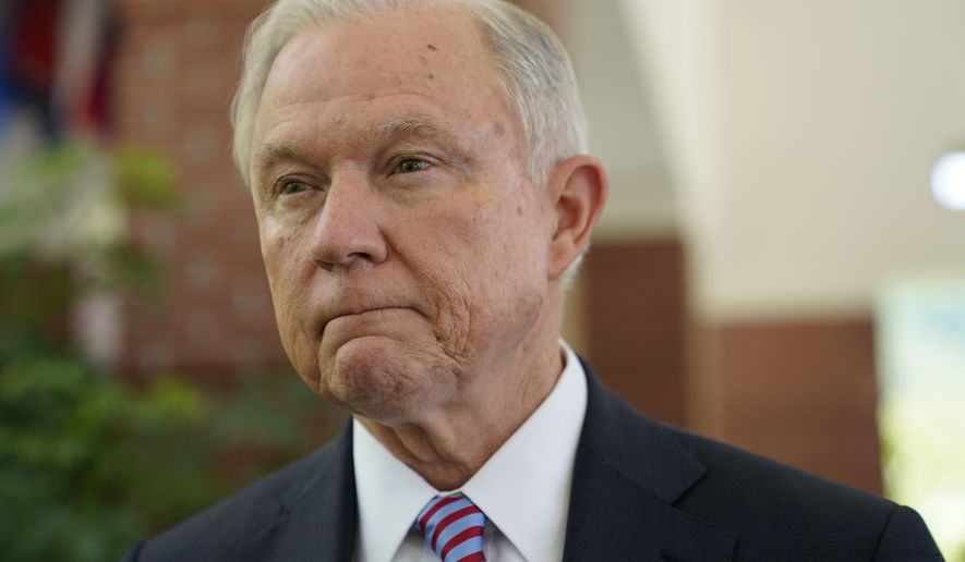 U.S. Attorney General Jeff Sessions is interviewed by The Associated Press at the U.S. Embassy in San Salvador, El Salvador, Thursday, July 27, 2017. Sessions is forging ahead with a tough-on-crime agenda that once endeared him to President Trump, who has since taken to berating him. Sessions is in El Salvador to step up international cooperation against the violent street gang MS-13. (AP Photo/Pablo Martinez Monsivais)