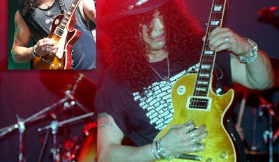 "Slash is best known as the lead guitarist of the American rock band Guns N' Roses, with whom he achieved worldwide success in the late 1980s and early 1990s. During his later years with Guns N' Roses, Slash formed the side project Slash's Snakepit. After leaving Guns N' Roses in 1996, he co-founded supergroup Velvet Revolver, which re-established him as a mainstream performer in the mid to late 2000s. Slash has since released three solo albums: Slash featuring an array of famous guest musicians, and Apocalyptic Love and World on Fire, recorded with his band Myles Kennedy and the Conspirators. He returned to Guns N' Roses in 2016, nearly 20 years after he had left. Slash has received critical acclaim and is considered as one of the greatest rock guitarists. Time magazine named him runner-up on their list of ""The 10 Best Electric Guitar Players"" in 2009, while Rolling Stone placed him at number 65 on their list of ""The 100 Greatest Guitarists of All Time"" in 2011. Guitar World ranked his guitar solo in ""November Rain"" number 6 on their list of ""The 100 Greatest Guitar Solos"" in 2008 and Total Guitar placed his riff in ""Sweet Child o' Mine"" at number 1 on their list of ""The 100 Greatest Riffs"" in 2004. During 2010,Gibson Guitar Corporation ranked Slash as number 34 on their ""Top 50 Guitarists of All Time"", while their readers landed him number 9 on Gibson's ""Top 25 Guitarists of All Time"". In 2012, he was inducted into the Rock and Roll Hall of Fame as a member of Guns N' Roses' classic line-up."