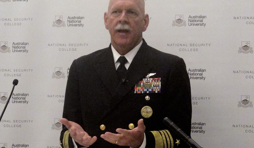U.S. Pacific Fleet Commander Adm. Scott Swift addresses an Australian National University security conference in Canberra, Australia Thursday, July 27, 2017. Swifts said he would launch a nuclear strike against China next week if U.S. President Donald Trump ordered it and warned against the military ever shifting its allegiance from its commander in chief. (AP Photo/Rod McGuirk)