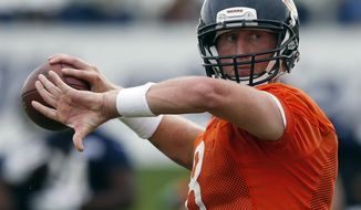 Chicago Bears quarterback Mike Glennon looks to pass during an NFL football training camp in Bourbonnais, Ill., Thursday, July 27, 2017. (AP Photo/Nam Y. Huh)