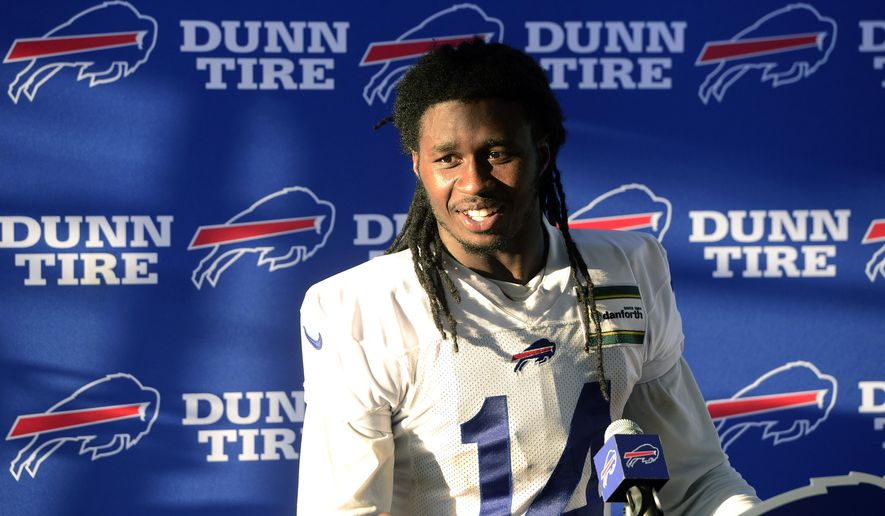 Buffalo Bills wide receiver Sammy Watkins talks with the media during NFL football training camp in Pittsford, N.Y., Thursday, July 27, 2017. (AP Photo/Adrian Kraus)