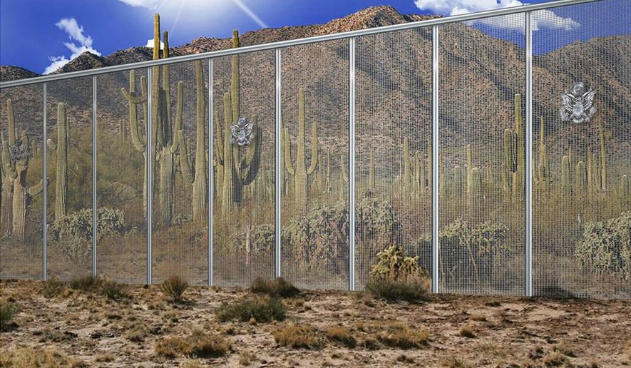 In this artistic rendering provided by the Fort Worth contracting company Penna Group shows a proposed to wall along the United States' southern border with Mexico. The Trump administration said Thursday, July 27, 2017, that prototypes for a proposed border wall with Mexico have been delayed until November because two companies, WNIS and Penna Group, have objected to the bidding process. (Penna Group via AP)