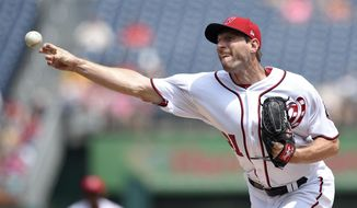 Washington Nationals starting pitcher Max Scherzer delivers a pitch during the first inning of a baseball game against the Milwaukee Brewers, Thursday, July 27, 2017, in Washington. (AP Photo/Nick Wass)