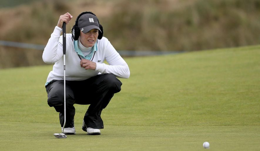 USA's Christie Kerr on the 1st green during day one of the Ladies Scottish Open being played at Dundonald Links, North Ayrshire, Scotland, Thursday July 27, 2017. (Jane Barlow/PA via AP)