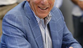 Miami Dolphins chairman of the board and managing general partner Stephen Ross smiles as he speaks during a news conference at NFL football training camp, Thursday, July 27, 2017 at the team's training facility in Davie, Fla. (AP Photo/Wilfredo Lee)