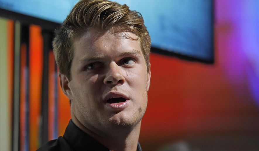 Southern California quarterback Sam Darnold speaks at Pac-12 NCAA college football Media Day, Thursday, July 27, 2017, in the Hollywood section of Los Angeles. (AP Photo/Mark J. Terrill)