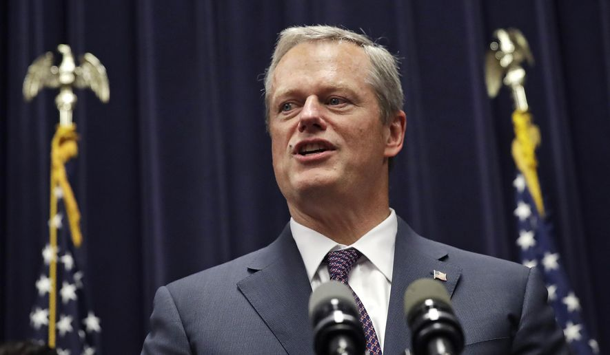 Mass. Gov. Charlie Baker addresses a gathering after signing into law the Pregnant Workers Fairness Act during a ceremony at the Statehouse, Thursday, July 27, 2017, in Boston. (AP Photo/Charles Krupa) ** FILE **
