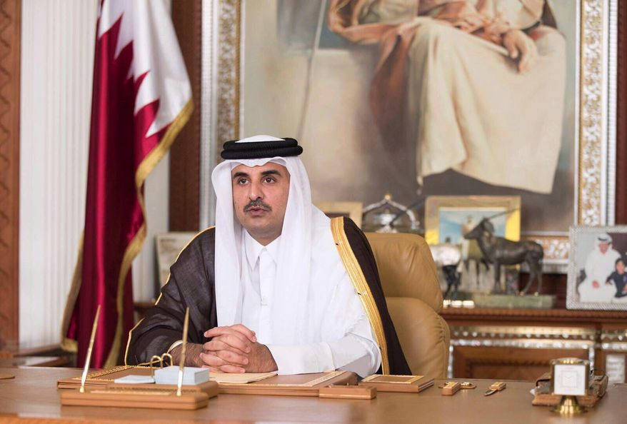 Emir of Qatar Sheikh Tamim bin Hamad Al Thani talks late Friday, July 21, 2017, in his first televised speech since the dispute between Qatar and three Gulf countries and Egypt, in Doha, Qatar. (Qatar News Agency via AP) ** FILE **