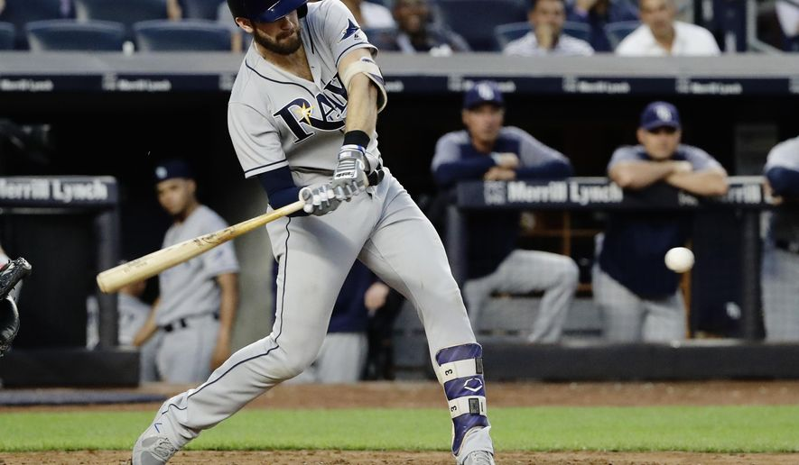 Tampa Bay Rays' Evan Longoria hits a solo home run during the fourth inning of the team's baseball game against the New York Yankees on Thursday, July 27, 2017, in New York. (AP Photo/Frank Franklin II)