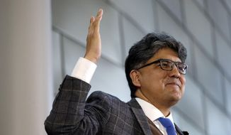 FILE--In this Oct. 10, 2016, file photo, author and filmmaker Sherman Alexie gives the keynote address at a celebration of Indigenous Peoples Day at Seattle's City Hall. Alexie is scheduled to speak in Santa Fe, N.M., Friday, July 28, 2017, after announcing he was canceling a book tour from his new intense memoir about his mother because of emotional stress. (AP Photo/Elaine Thompson, file)