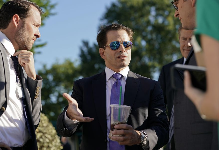 White House communications director Anthony Scaramucci speaks to members of the media outside the White House in Washington, Tuesday, July 25, 2017. (AP Photo/Pablo Martinez Monsivais)