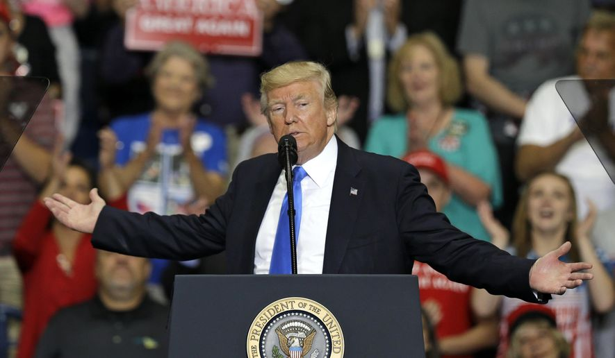 President Donald Trump speaks at the Covelli Centre, Tuesday, July 25, 2017, in Youngstown, Ohio. (AP Photo/Tony Dejak)