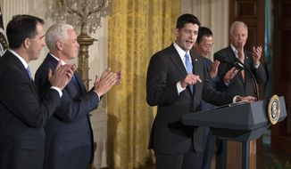 House Speaker Paul Ryan of Wis., joined by Wisconsin Gov. Scott Walker, left, Vice President Mike Pence, Terry Gou, president and chief executive officer of Foxconn, and Sen. Ron Johnson, R-Wis., speaks in the East Room of the White House in Washington, Wednesday, July 26, 2017. (AP Photo/Carolyn Kaster)