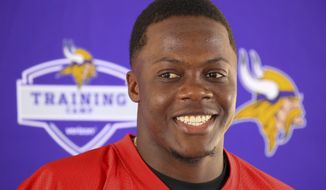 Minnesota Vikings quarterback Teddy Bridgewater speaks at his first press conference since his knee injury last year, during an NFL football training camp in Mankato, Minn., Thursday, July 27, 2017.(AP Photo/Andy Clayton-King)