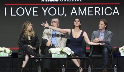 """Executive producers Amy Zvi, from left, and Adam McKay, star/executive producer Sarah Silverman and executive producer/showrunner Gavin Purcell participate in the """"I Love You, America"""" panel during the Hulu Television Critics Association Summer Press Tour at the Beverly Hilton on Thursday, July 27, 2017, in Beverly Hills, Calif. (Photo by Willy Sanjuan/Invision/AP)"""