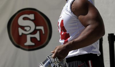 San Francisco 49ers lineman Solomon Thomas enters the field during the NFL team's football training camp Friday, July 28, 2017, in Santa Clara, Calif. (AP Photo/Marcio Jose Sanchez)