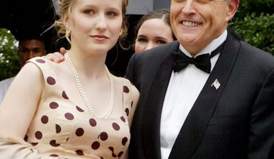 Caroline Giuliani and her dad former NYC Mayor Rudolph Giuliani. Caroline was caught by a store security camera shoplifting five cosmetics items worth more than $100 and was charged with petit larceny.