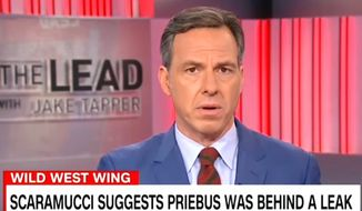CNN's Jake Tapper told viewers on July 27, 2017, that some of President Donald Trump's appointees are trying to derail his administration. (CNN screenshot) ** FILE **
