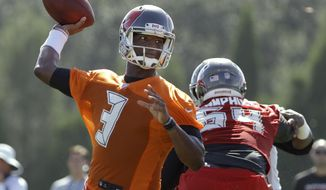 Tampa Bay Buccaneers quarterback Jameis Winston throws a pass during an NFL football training camp practice Friday, July 28, 2017, in Tampa, Fla. (AP Photo/Chris O'Meara)